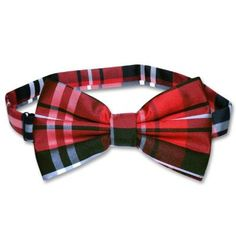 $7, Burgundy Plaid Bow-tie: Vesuvio Napoli Bowtie Black Red White Color Plaid Bow Tie. Sold by Krisar Enterprises. Click for more info: https://lookastic.com/men/shop_items/83785/redirect