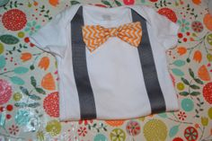 Easter onesie- orange chevron bow tie onesie