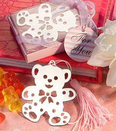 """Lesezeichen aus Metall """"Teddybär"""" - rosa"""