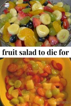 Salad to Die For Best fruit salad recipe ever! Such an easy summer side dish recipe.Best fruit salad recipe ever! Such an easy summer side dish recipe. Fruit Salad Making, Best Fruit Salad, Fruit Salad Recipes, Jello Salads, Breakfast Fruit Salad, Creamy Fruit Salads, Party Salads, Vegetable Salad Recipes, Fruit Fruit