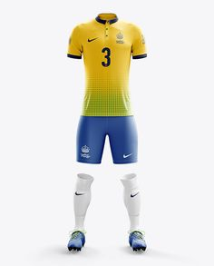 cbbf6687f365b Men s Full Soccer Kit with Polo Shirt Mockup (Front View). Preview Golas