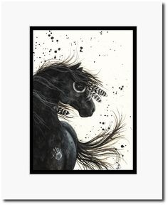 Majestic Mustang War Paint Feathered Horse  by DreamCatchingStudio, $25.00