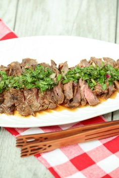 OMG!  The best steak ever! Whiskey Marinated Skirt Steak with Chimichurri Sauce Low Calorie, Low Fat, Healthy Recipe #SundaySupper #ad
