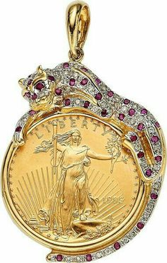 Ruby And Diamond Necklace, Diamond Pendant Necklace, Gold Pendant, Coin Jewelry, Jewelery, Most Expensive Jewelry, Coin Design, Gold Bullion, Holiday Jewelry