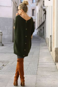 An olive button back sweater dress is a great addition to your winter  style! Pair with leggings and your favorite riding boots for a complete  look! f65c15d1f3e