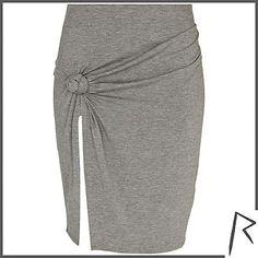 Grey Rihanna knot front thigh split skirt £35.00