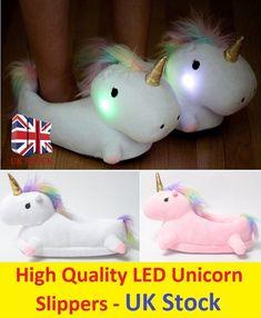 LED Light Up Unicorn Slippers Lovely Soft Plush Fluffy Winter Indoor Girls Shoes | Abbigliamento e accessori, Donna: scarpe, Pantofole | eBay!
