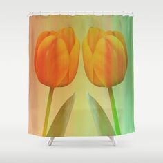Head-to-Head, mixed media art with elegant Tulips Shower Curtain