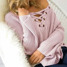 Newly Stylish Fashion Women Long Sleeve Knit Long Top Sweater Knitting Solid Deep V-Neck Sexy Loose Casual Pullover Femme Oversized Sweater Outfit, Sweater Outfits, Casual Outfits, Cute Outfits, Oversized Sweaters, Pullover Outfits, Look Fashion, Fashion Outfits, Womens Fashion