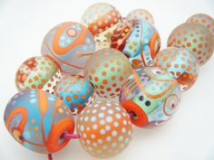 Moogin Beads- huge set of bright abstract glass beads- Lampwork / glass - SRA by mooginmindy on Etsy