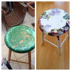 Decuopaged chair,before-after