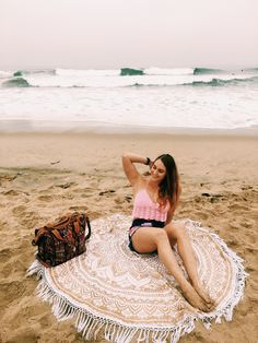 Beach life ✨ Gold Gypsy Goddess Roundie Mandala Tapestry by Lady Scorpio Save 25% off all orders with code PINTERESTXO at checkout | Bohemian Tapestry + Home Decor | Decor by Lady Scorpio | • Shop Now LadyScorpio101.com | @LadyScorpio101 | Model Kenzie Barnes | California is the best
