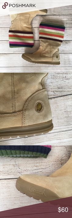 Coach Tatum Striped Boots Authentic Coach boots. Mid-calf boots. Wool striped fold down cuff. Rubber soles. There is a small hole in the wool - see photo. Gently worn, in great condition. NO TRADES/NO MODELING✅BUNDLE TO SAVE ✅ Coach Shoes Winter & Rain Boots