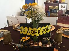 I couldn& find a retirement party centerpiece for a construction worker so . , I couldn& find a retirement party centerpiece for a construction worker so this is what I came up with - super simple and easy! Teacher Retirement Parties, Retirement Decorations, Retirement Invitations, Retirement Party Decorations, Cake Table Decorations, Retirement Cakes, Retirement Ideas, Retirement Party Centerpieces, Construction Theme Party
