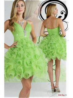 Stunning Unusual Princess Ruched Rhinestons Ruffles Short Mini Lime Green Homecoming Dress With Straps HD-7164