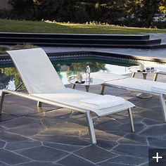 "Set of Two Momentum Chaise Lounges -  $799 - contract-grade aluminum frame - 30 1/2"" wide"