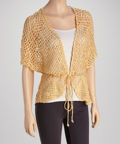 Take a look at this Yellow Crocheted Cardigan by Papillon Imports on #zulily today!