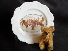 Rare and wonderful Teddy Roosevelt teddy bear plate c1904// nice little steiff bear displayed with this plate too! // Photo via Ebay.....