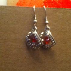 Tibetan Silver Fang Charm earrings with glass beads