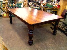 """90"""" x 50"""" cherrywood farmhouse table made by Hawley's Fine Woodworking in Vermont"""