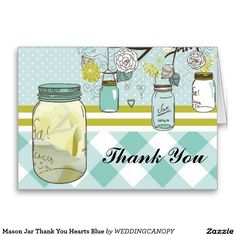 Mason Jar Thank You Hearts Blue Card