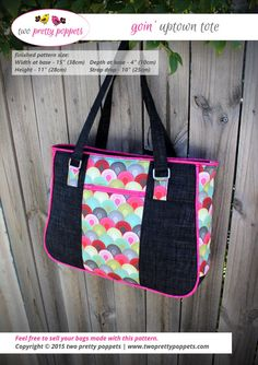Tote bag pattern Goin' Uptown Tote large tote by twoprettypoppets