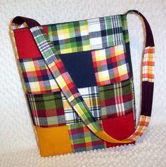 Madras Plaid Patchwork Sling Purse Hobo Bag by BizzieLizzie, $38.00