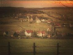 Pohled na horskou obec Kalek okres Chomutov, Česká republika