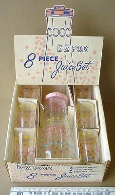 Atomic Starburst Juice Pitcher 6 Glasses Set MIB Vtg Mid Century Hazel Atlas | eBay