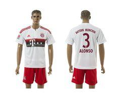 2015-2016 Bayern Munich #3 ALONSO Away White Soccer Jersey