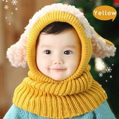 Buy Siamese Puppy Scarf Winter New Baby Hat Wool Hat Winter Hat Hot Sale Beanie Hat Hooded Scarf Earflap Knit Cap Toddler Cute at Wish - Shopping Made Fun