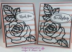 Windy's Wonderful Creations: A Double Trouble!, Stampin' Up!, Rose Garden thinlits dies, Rose Wonder, Birthday Bouquet DSP