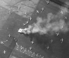 Aerial picture of a part of Operation Market Garden in Arnhem in 1944, the largest airborne operation in history