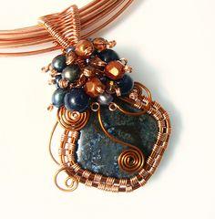 Copper and Pietersite wire wrapped pendant | Pietersite, blu… | Flickr
