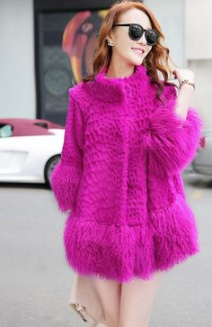 New Real 100% Rabbit Mongolia Sheep Fur Women Coat Jacket Overcoat Garment #Furfox #BasicCoat