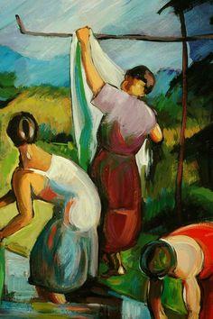 Patko, Karoly (Hungarian, Serbian, 1895-1941) - Washerwomen by the Brook - 1924 (by *Huismus)    alongtimealone: