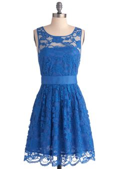 When the Night Comes Dress in Blue by BB Dakota - Blue, Lace, Formal, Wedding, Party, A-line, Sleeveless