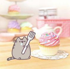 Pusheen vs HUGE cupcake