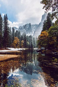 First Snow on the Merced River.