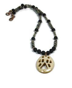 Wolf Track Necklace // Dalmatian Jasper & by AussenWolfDesigns, $42.00