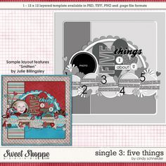 Cindys Layered Templates - Single #3 Five Things by Cindy Schneider $1.95