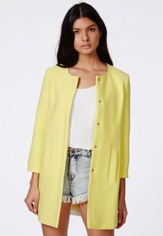 f9b6f6591c545 Fijata A Line Coat - Coats   Jackets - Missguided Yellow Coat