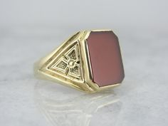 Vintage Green Gold and Red Sardonyx Ring for Man or Woman 5DHA9T-D by MSJewelers on Etsy https://www.etsy.com/listing/172974012/vintage-green-gold-and-red-sardonyx-ring