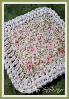 """Beautiful fabric and crochet blend to create a stunning quilt that will make your heart smile. Be careful! This """"Fusion Quilt"""" and its construction are addicting! Use up your scraps and make what was Crochet Afghans, Crochet Borders, Crochet Stitches, Crochet Patterns, Crochet Edgings, Crochet Squares, Crochet Hook Set, Cute Crochet, Hand Crochet"""