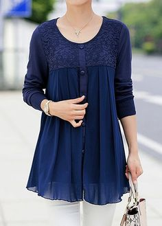 Chiffon Patchwork Button Embellished Navy Blue Blouse | Rosewe.com - USD $30.95