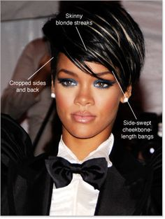 Rihanna Hairstyles Front and Back   Skinny Blonde Streaks hair. Cropped side and back hair. Side-swept ...