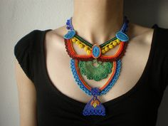 Geometry - Basics ... Freeform Crochet Necklace - Red Turquoise Blue Yellow Orange Green - Beaded Statement Necklace