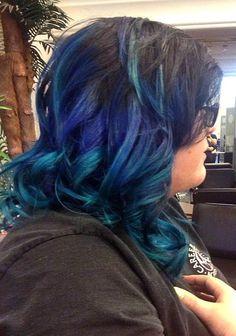 Cool blue ombre hair! Hoss Lee Academy