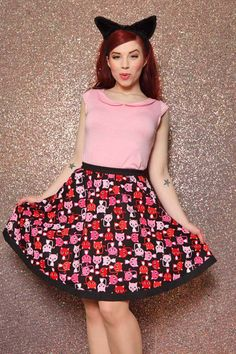 The Flirty skirt is a one way ticket to adorable-town! If you know anything about Mandie, you KNOW she is a cat enthusiast. This print was just what the line needed. Please be aware that Mandie Bee skirts and dresses are shorter than the Heartbreaker line.  $52.00