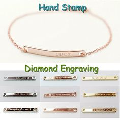 A Name Bar Bracelet Gold Rose Gold Silver Plated Plate Charms Hand Stamp or Computer Diamond Engraving bridesmaid gift and wedding >>> Read more at the image link.